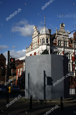 The iconic statue of  West Ham heroes Bobby Moore, Sir Geoff Hurst and Martin Peters is boarded up  before  the Barclays Premier League match between West Ham United and Tottenham   played at Boleyn Ground  on 02th March 2016 in London