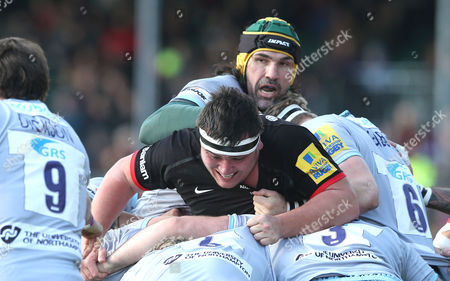 Stock Image of Jamie George of Saracens gets trapped in a maul with Victor Matfield of Northampton looking over his shoulder Saracens v Northampton - Aviva Premiership - 05/03/2016 - Allianz Park - Hendon - London - UK Credit: Andrew Fosker / Seconds Left Images