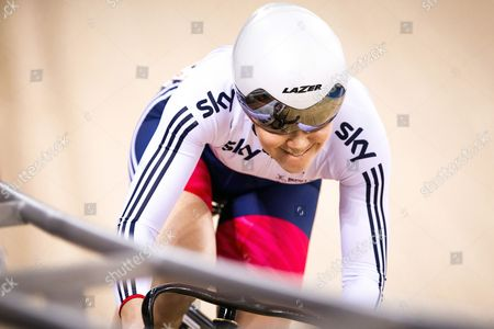 Great Britain's Jessica Varnish competes in the Women's Sprint Qualification.