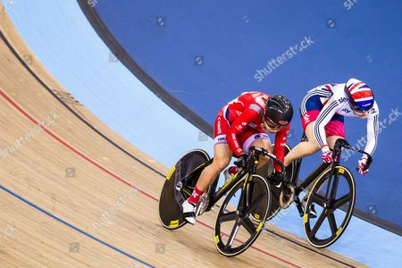 Stock Image of Hong Kong's Lee Wai Sze defeats Great Britain Jessica Varnish in the Women's Sprint 1/8 finals.