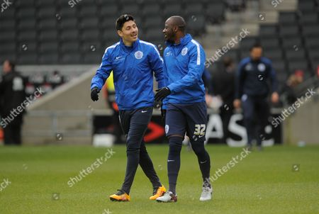 Stock Photo of Alejandro Faurlin and Samba Diakite of QPR during the SKY Bet Championship match between MK Dons and QPR played at Stadium MK, Milton Keynes on March 5th 2016