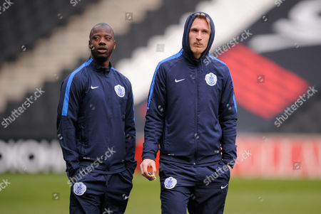 Samba Diakite and Sebastian Polter of QPR inspect the pitch before the SKY Bet Championship match between MK Dons and QPR played at Stadium MK, Milton Keynes on March 5th 2016