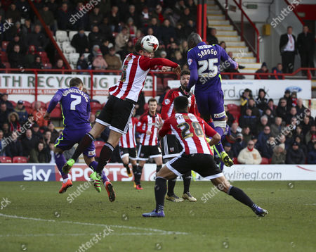 Charlton Athletic striker, Yaya Sanogo (25) with another chance on goal during the Sky Bet Championship match between Brentford and Charlton Athletic at Griffin Park, London