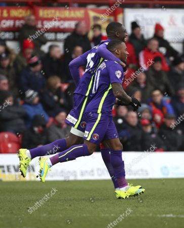 Charlton Athletic midfielder, Callum Harriott (11) celebrating scoring opening goal 0-1 during the Sky Bet Championship match between Brentford and Charlton Athletic at Griffin Park, London