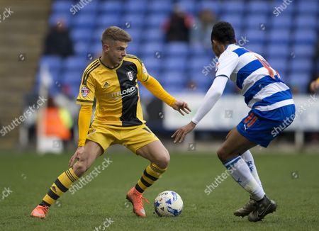 Alex Kacaniklic of Fulham and Jordan Obita of Reading during the Sky Bet Championship match between Reading and Fulham played at Madejski Stadium, Reading on March 5th, 2016