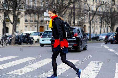 Editorial image of Street Style, Autumn Winter 2016, Paris Fashion Week, France - 03 Mar 2016