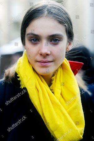 Stock Image of Model Phillipa Hemphrey after Ann Demeulemeester at Théâtre national de Chaillot AW16, Paris Fashion Week 2016.