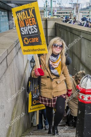 Emma Barnett, BBC Radio 5 and Telegraph women's editor during 'Walk in Her Shoes' march
