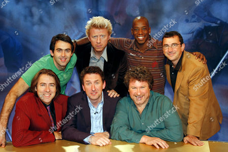Front - Jonathan Ross, Lee Mack and Rory McGrath, Back - Ronnie O'Sullivan, Boris Becker, Ian Wright, Phil Daniels