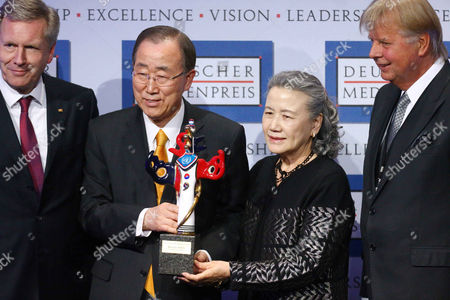 Stock Image of Christian Wulff, Ban Ki-moon with wife Yoo Soom-taek, and Karlheinz Koegel