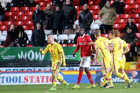 MK Dons players confront Charlton's Yaya Sanogo after an off the ball incident involving Antony Kay during Charlton Athletic vs MK Dons, Sky Bet Championship Football at The Valley, London