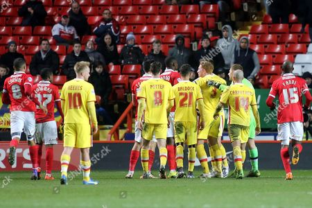 MK Dons players surround Charlton's Yaya Sanogo after an off the ball incident involving Antony Kay during Charlton Athletic vs MK Dons, Sky Bet Championship Football at The Valley, London