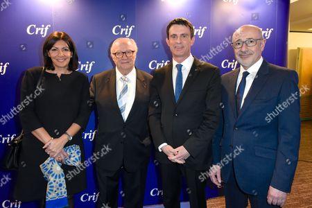 Anne Hidalgo, Roger Cukierman, Manuel Valls and Francis Kalifa