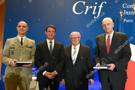 Bruno Le Ray, Manuel Valls, Roger Cukierman and Michel Cadot