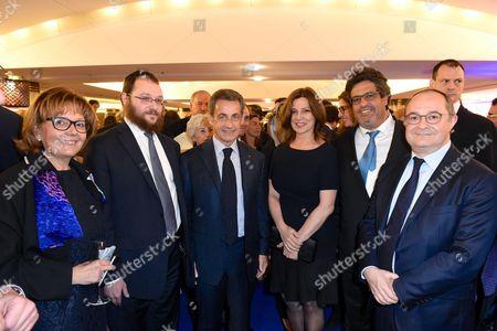 A guest, Levi Matusof, Nicolas Sarkozy, Aliza Bin Noun, Meyer Habib and Ariel Goldmann