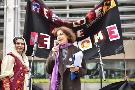 Stock Photo of Natasha Walter at the 'Set Her Free' demonstration for refugee women