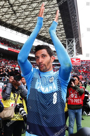Jubilo Iwata's Jay Bothroyd applauds the fans after the game. Bothroyd became the first Englishman since Gary Lineker to score a J-League goal. UK SALES ONLY
