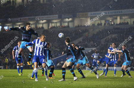 Bobby Zamora of Brighton & Hove Albion fails to turn a header towards goal during the Sky Bet Championship match between Brighton and Hove Albion and Sheffield Wednesday played at The Amex Stadium, Brighton on 8th March 2016