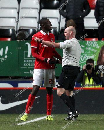 Yaya Sanogo of Charlton Athletic is sent off