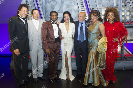 Charl Brown (Smokey Robinson), Smokey Robinson, Cedric Neal (Berry Gordy), Lucy St Louis (Diana Ross), Berry Gordy (Producer/Music/Lyrics), Mary Wilson and Cherelle Williams (Mary Wilson) backstage