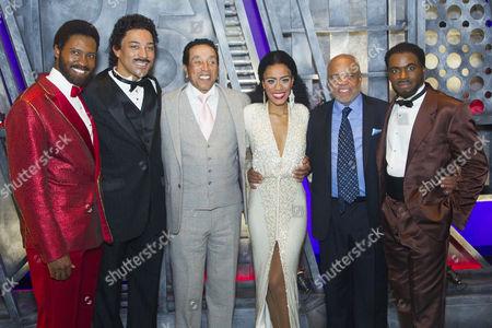 Sifiso Mazibuko (Marvin Gaye), Charl Brown (Smokey Robinson), Smokey Robinson, Lucy St Louis (Diana Ross), Berry Gordy (Producer/Music/Lyrics) and Cedric Neal (Berry Gordy) backstage