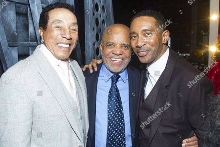 Smokey Robinson, Berry Gordy (Producer/Music/Lyrics) and Charles Randolph-Wright (Director) backstage