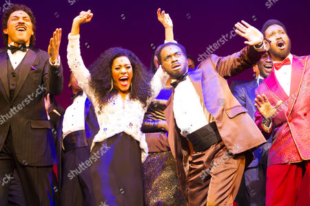 Charl Brown (Smokey Robinson), Lucy St Louis (Diana Ross), Cedric Neal (Berry Gordy) and Sifiso Mazibuko (Marvin Gaye) during the curtain call