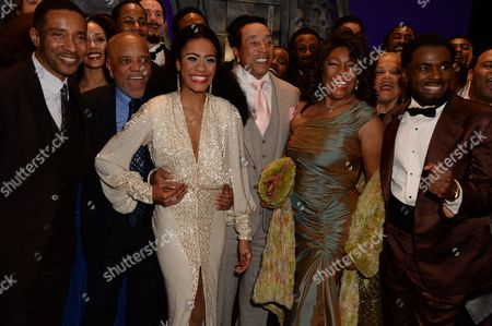 Charles Randolph-Wright, Berry Gordy, Lucy St Louis, Smokey Robinson, Mary Wilson and Cedric Neal