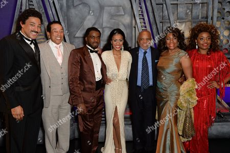 Stock Picture of Charl Brown (Smokey Robinson), Smokey Robinson, Cedric Neal (Berry Gordy), Lucy St Louis (Diana Ross), Berry Gordy (Producer/Music/Lyrics), Mary Wilson and Cherelle Williams (Mary Wilson)