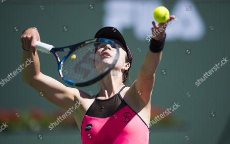 Galina Voskoboeva of Kazakhstan  in action at the BNP Paribas Open at the Indian Wells Tennis Garden, Indian Wells, California, USA.
