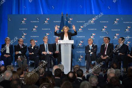Valerie Pecresse (C), Jean Christophe Baguet, Francois Fillon, Patrick Devedjian and Isabelle Debre