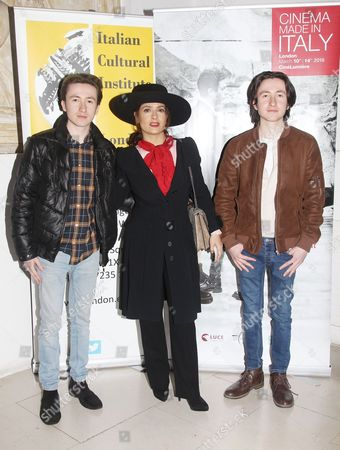 Stock Photo of Christian Lees, Salma Hayek and Jonah Lees