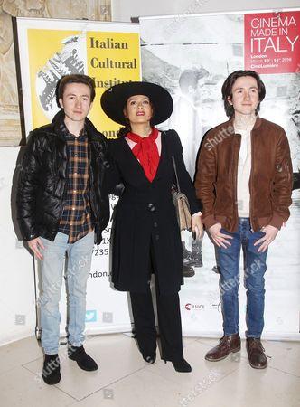Stock Picture of Christian Lees, Salma Hayek and Jonah Lees