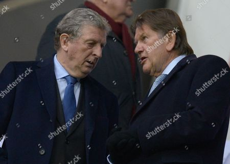 England Manager Roy Hodgson and Sir John Madejski talk during The Emirates FA Cup Quarter-Finals match between Reading and Crystal Palace played at Madejski Stadium, Reading on March 11th 2016