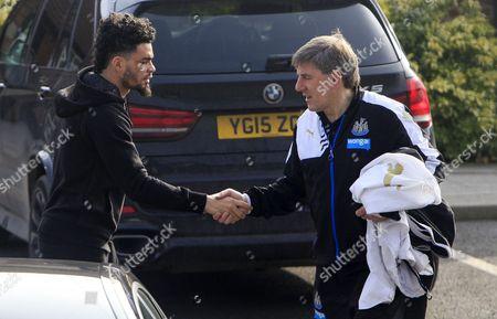 Emmanuel Riviere and Peter Beardsley Shake Hands