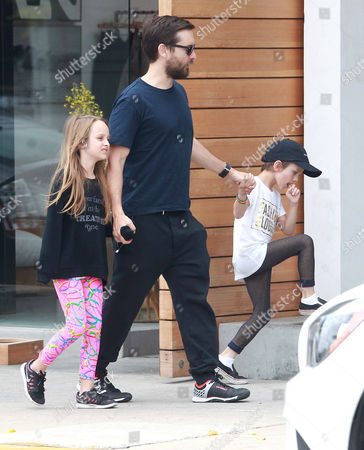 Tobey Maguire and children Ruby Maguire, Otis Maguire