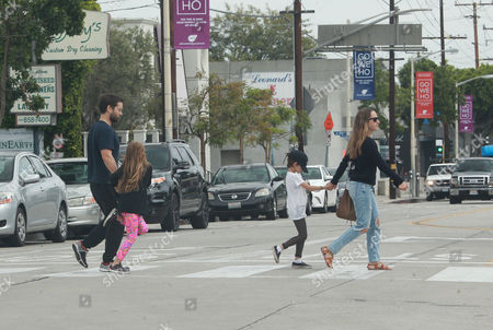 Stock Image of Tobey Maguire, Jennifer Meyer, Ruby Maguire, Otis Maguire