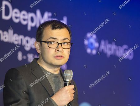 Demis Hassabis, CEO of the AlphaGo developer Google DeepMind attend a press conference after the third match of the Google DeepMind Challenge