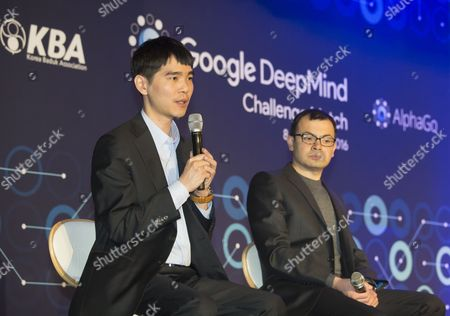 South Korean Go master Lee Se-dol and Demis Hassabis, CEO of the AlphaGo developer Google DeepMind attend a press conference after the third match of the Google DeepMind Challenge