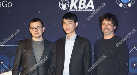 Lee Se-dol, Demis Hassabis and Sergey Brin attend a press conference after the third match of the Google DeepMind Challenge