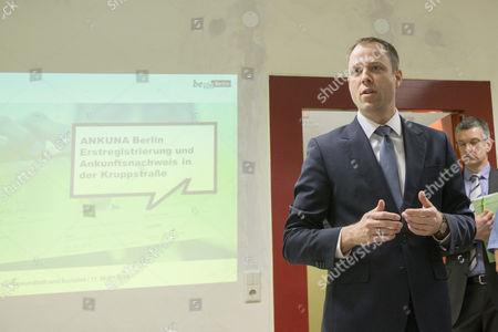 Berlin Senator for Health and Social Affairs Mario Czaja (CDU) addresses the media