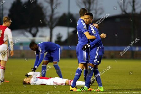 Ali Mukhtar hugs Chelsea's Isaac Christie-Davies at the final whistle to celebrate their victory against AFC Ajax during Chelsea Under-19 vs AFC Ajax Under-19, UEFA Youth League Football at the Cobham Training Ground on 15th March 2016
