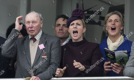 Zara Tindall watches the racing with race horse owner Trevor Hemmings and fellow rider Kristina Cook