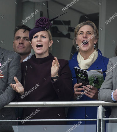 Zara Tindall watches the racing with fellow rider Tina Cook.