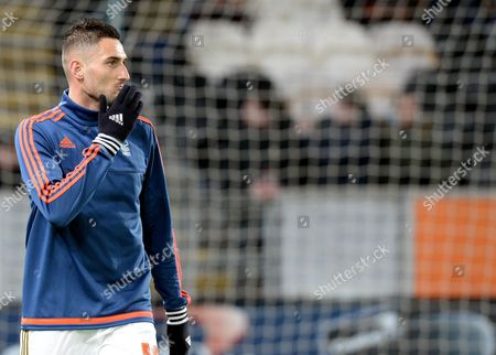 Federico Macheda of Nottingham Forest during the warm up before the Sky Bet Championship match between Hull City and Nottingham Forest, played at the KC Stadium, Hull,  on Tuesday the 15th of March 2016