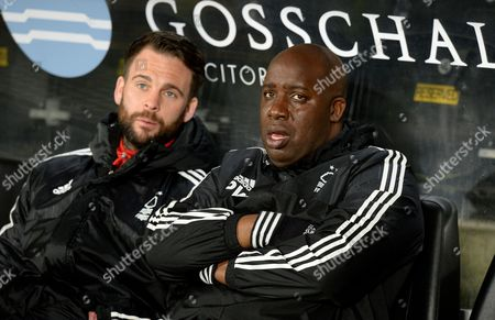 Manager Paul Williams of Nottingham Forest with Danny Fox who had been absent under Dougie Freedman before the Sky Bet Championship match between Hull City and Nottingham Forest, played at the KC Stadium, Hull,  on Tuesday the 15th of March 2016