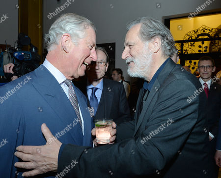 Prince Charles and Rade Serbedzija at a reception for the British Council at the Arts and Crafts Museum in Zagreb
