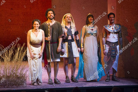 Danielle Bird (Miriam), Greg Barnett (NotMoses), Joe Morrow (Feripoti), Jasmine Hyde (Princess) and Niv Petel (Rameses) during the curtain call