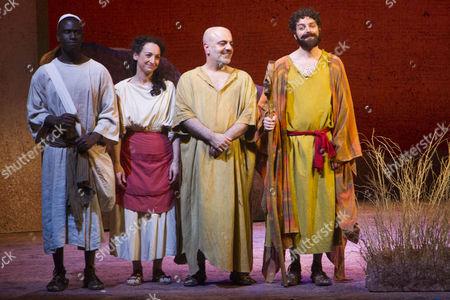 Stock Photo of Leon Stewart (Rabbi), Antonia Davies (Aviva), Dana Haqjoo (Pharaoh) and Thomas Nelstrop (Moses) during the curtain call