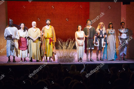 Leon Stewart (Rabbi), Antonia Davies (Aviva), Dana Haqjoo (Pharaoh), Thomas Nelstrop (Moses), Danielle Bird (Miriam), Greg Barnett (NotMoses), Joe Morrow (Feripoti), Jasmine Hyde (Princess) and Niv Petel (Rameses) during the curtain call